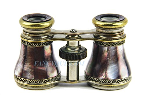 Antique Fancy Bronze Work FRENCH OPERA GLASSES Dark Mother of Pearl # 132