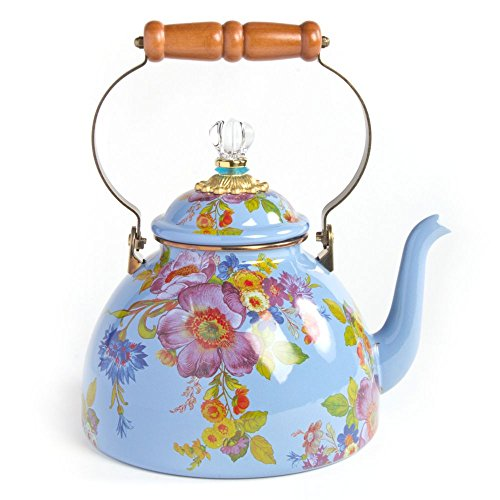 MacKenzie-Childs Flower Market Enamel 3 Quart Tea Kettle - Blue