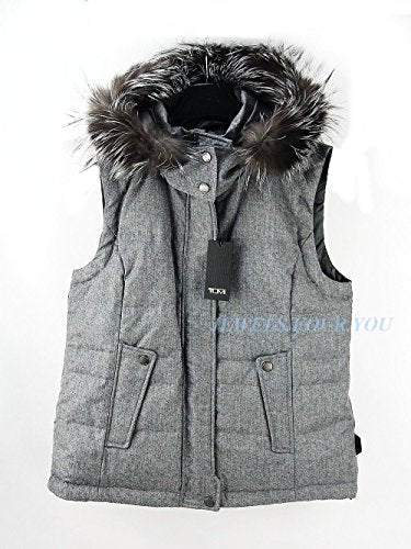 Tumi Modena Cashmere Blend Down Reversible Vest Jacket Real Fox Fur Hood Size XS