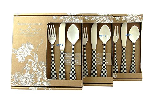 MACKENZIE CHILDS LOT OF THREE SET 12 PIECE (36) COURTLY CHECK ENAMELED FLATWARE NEW