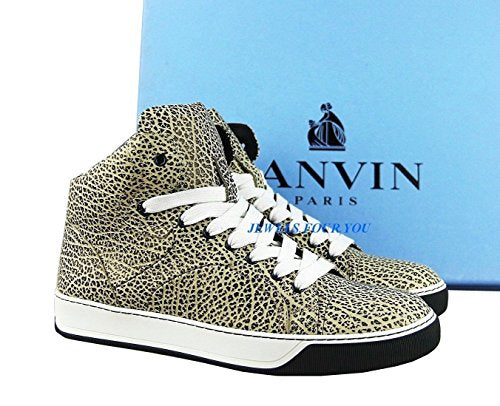 Lanvin Black Beige Textured Leather Rubber Sole Shoes Sneakers. We Have Size Us 9 or 10