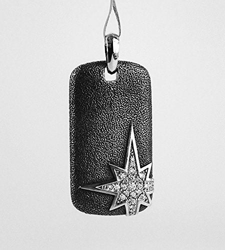 DAVID YURMAN AMAZING ST.SILVER NORTH STAR PENDANT DOG TAG WHITE DIAMONDS #632