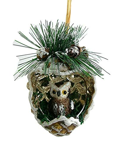 Hoff Germany OWL in The Pine Cone Glass Christmas Ornament