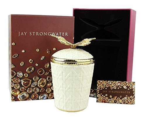 Jay Strongwater Butterfly Bridget Woven Basket Candle Holder Swarovski New