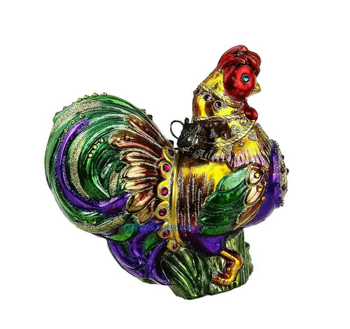 JAY STRONGWATER JUBILEE ROOSTER GLASS CHRISTMAS ORNAMENT