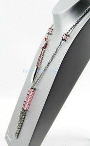 Baccarat JEWELRY TORSADE STERLING SILVER LARGE PINK FULL LEAD NECKLACE NEW 930