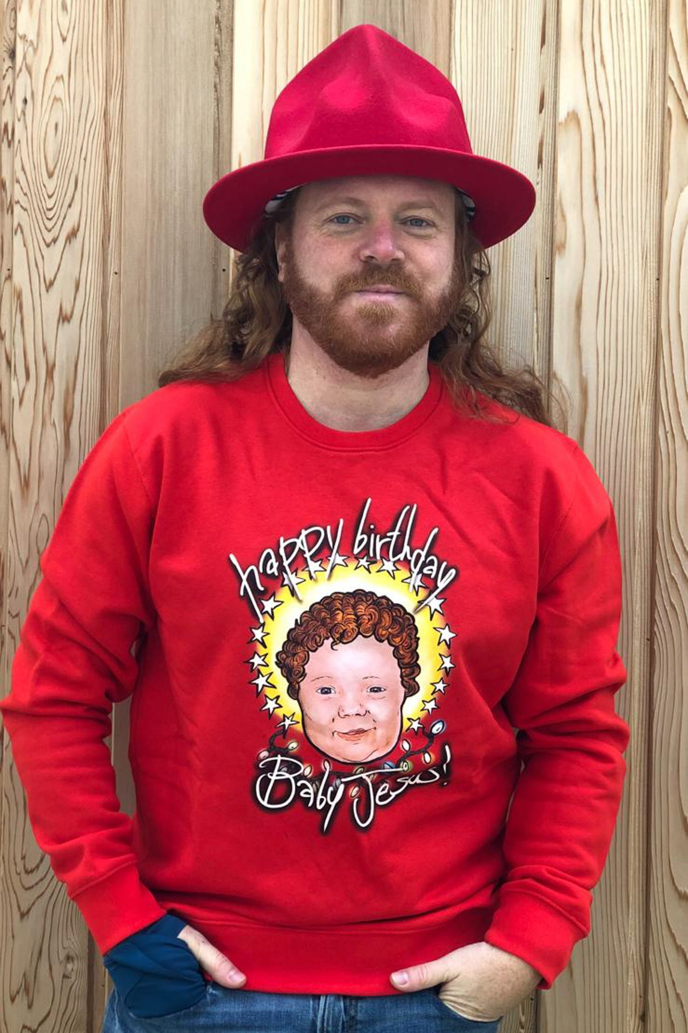 HBD Baby Jesus! Crimbo Sweatshirt in Festive Red