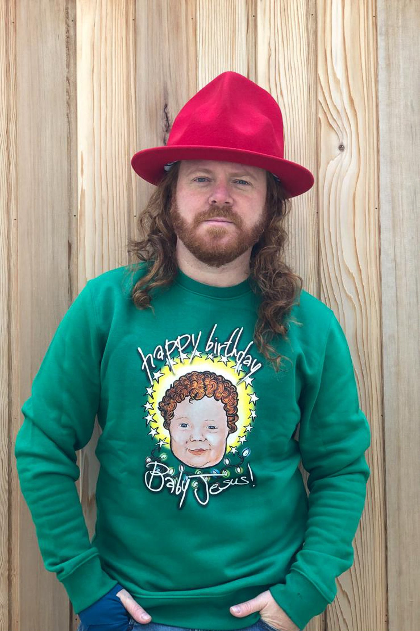 HBD Baby Jesus! Crimbo Sweatshirt in Festive Green