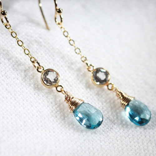 London Blue Topaz and CZ Chain Dangle Earrings in 14 kt Gold Filled