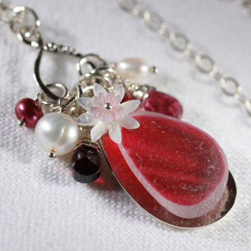 Beautiful Rosy red Multi Sea Glass Treasure Necklace