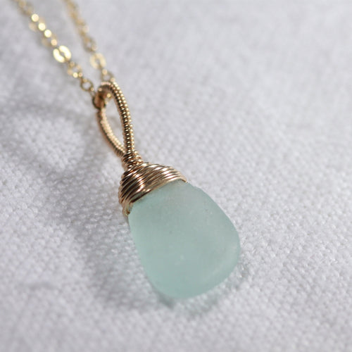 Ocean Aqua Sea Glass necklace hand wire wrapped in 14kt GF