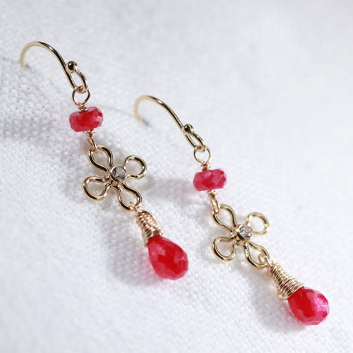 Ruby Dangle and Flower with CZ Earrings in 14 kt Gold Filled