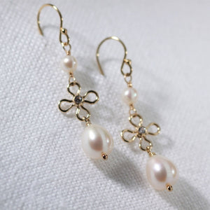 Freshwater Pearl Dangle and Flower with CZ Earrings in 14 kt Gold Filled