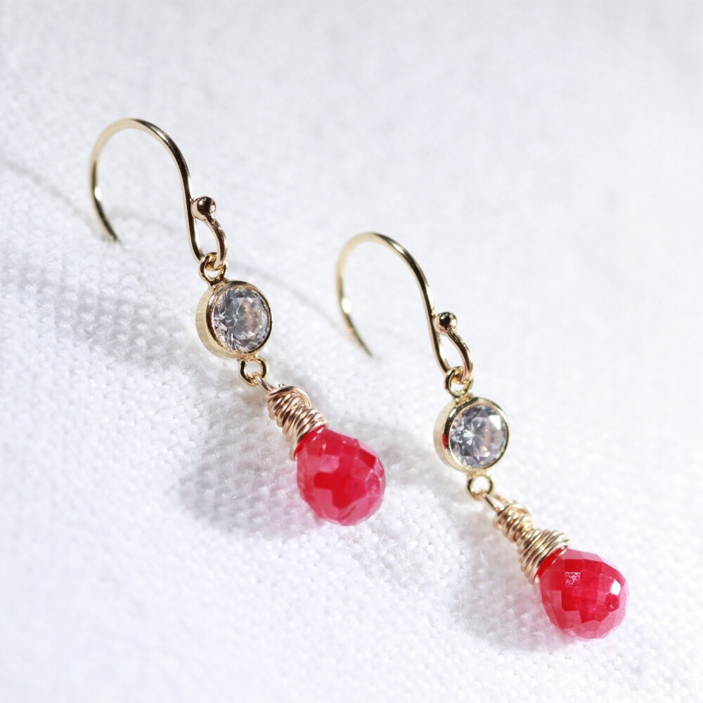Ruby Dangle and CZ Earrings in 14 kt Gold Filled