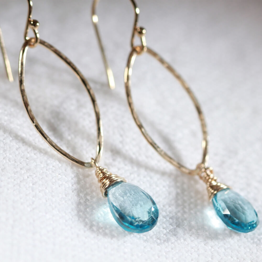 London Blue Topaz Hammered marquise Hoop Earrings in 14 kt Gold Filled