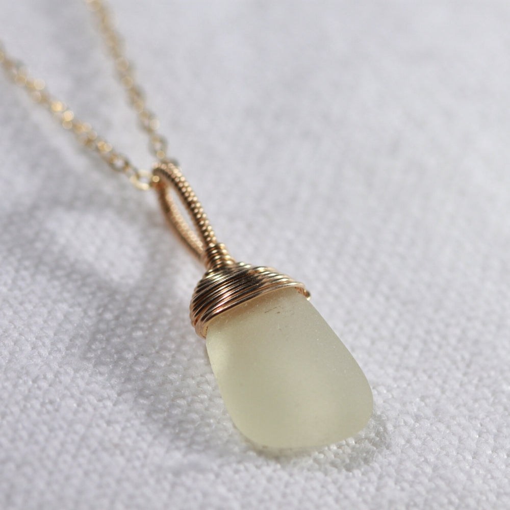 Soft yellow Sea Glass necklace hand wire wrapped in 14kt GF