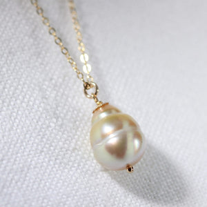 South Sea Golden Yellow Pearl Necklace on a 14 kt Gold-Filled cable chain