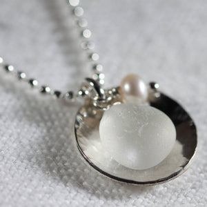 Silver Dish Bezel Sea Glass Necklace