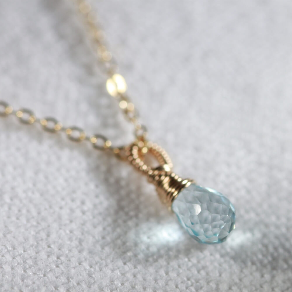 Swiss Blue Topaz Briolette Pendant Necklace in 14 kt Gold-Filled
