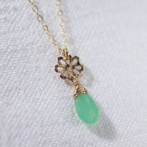 Chrysoprase Briolette gemstone and flower charm Necklace in 14 kt Gold-Filled