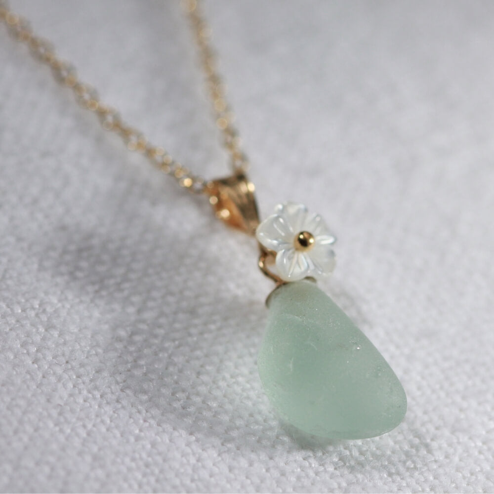 Sea foam green Sea Glass necklace in 14kt GF with a carved MOP flower