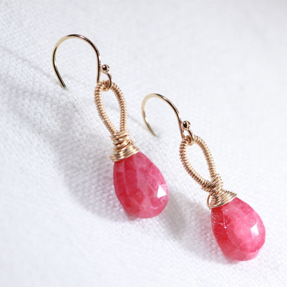 Ruby Briolette Earrings hand wrapped in 14 kt Gold Filled
