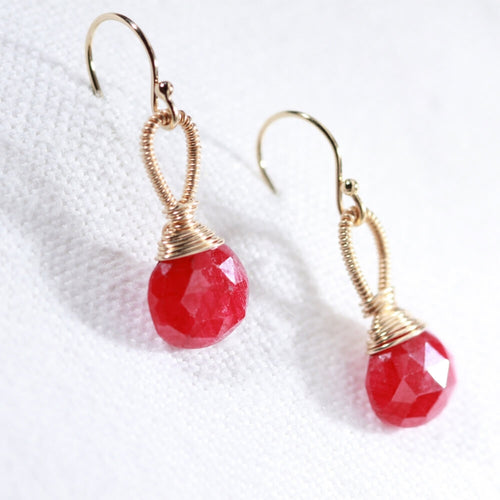 Ruby Faceted Briolette Earrings hand wrapped in 14 kt Gold Filled