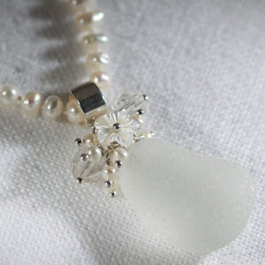Sea Glass Bouquet Necklace on a Strand of Pearls