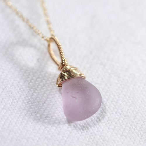 Lavender Sea Glass necklace hand wire wrapped in 14kt GF
