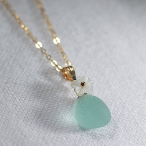 Aqua Sea Glass necklace in 14kt GF with a carved MOP flower