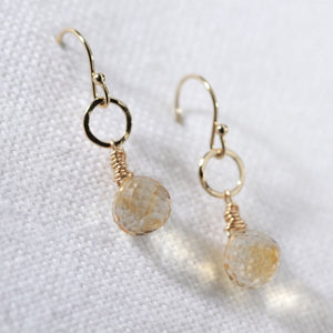 Citrine and hammered circle Earrings in 14 kt Gold Filled
