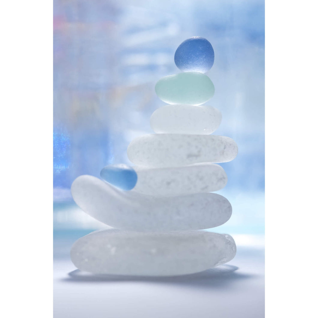 White Sea Glass Stack Art Print