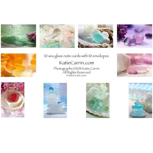 Set of 10 Sea Glass Art Print Note Cards