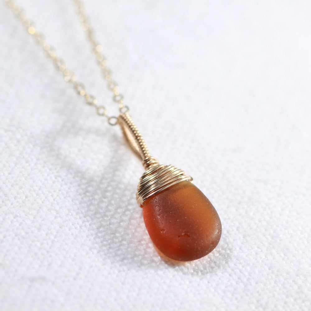 Amber Sea Glass necklace hand wire wrapped in 14kt GF