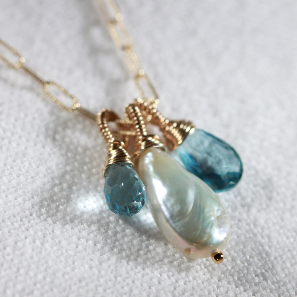 London Blue Topaz, Freshwater Pearl Briolette Multi Charm Necklace in 14 kt Gold-Filled