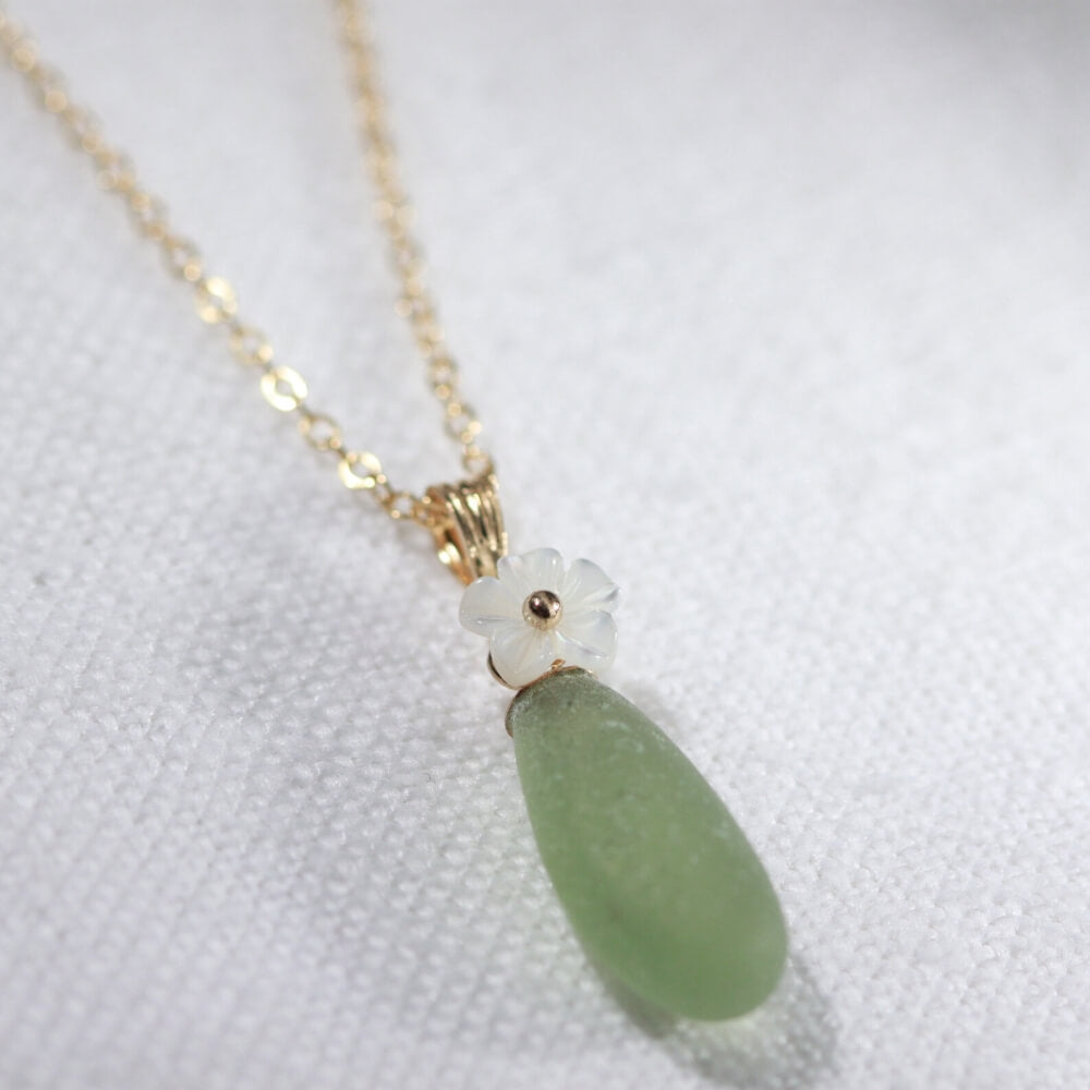 olive green Sea Glass necklace in 14kt GF with a carved MOP flower