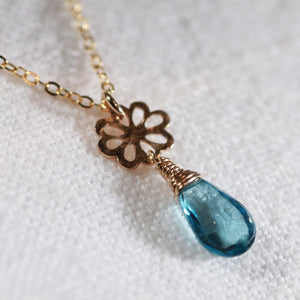 London Blue Topaz Briolette gemstoneNecklace with 14 kt Gold-Filled hammered flower