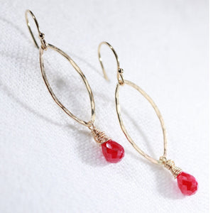 Ruby Briolette Gemstone Hammered marquise Hoop Earrings in 14 kt Gold Filled