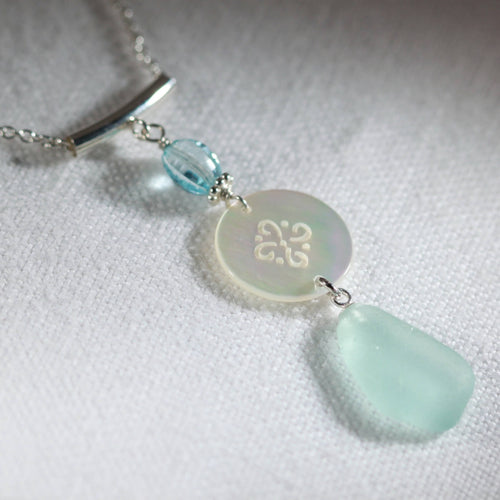 Wind Chime Sea Glass Necklace in Silver with MOP