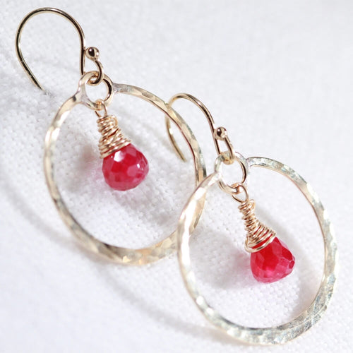 Ruby gemstone and Hammered Hoop Earrings in 14 kt Gold Filled