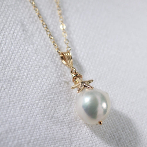 Baroque Pearl and starfish Necklace in 14kt gold filled