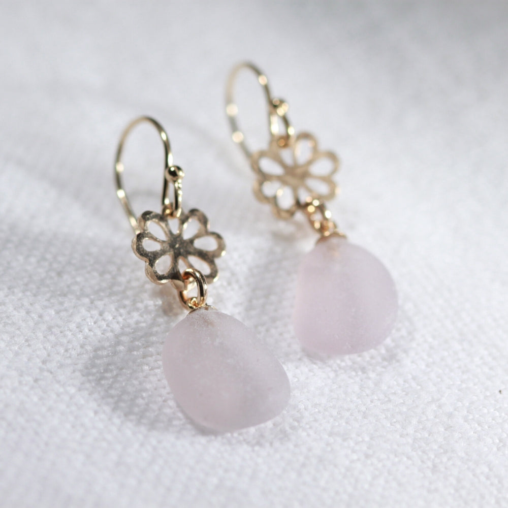 Lavender Sea Glass Earrings on hammered 14 kt gold-filled flower