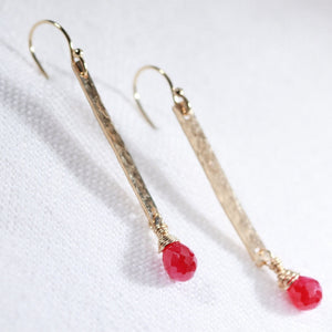Ruby and Hammered Bar Earrings in 14 kt Gold Filled