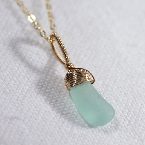 Aqua Sea Glass necklace hand wire wrapped in 14kt GF