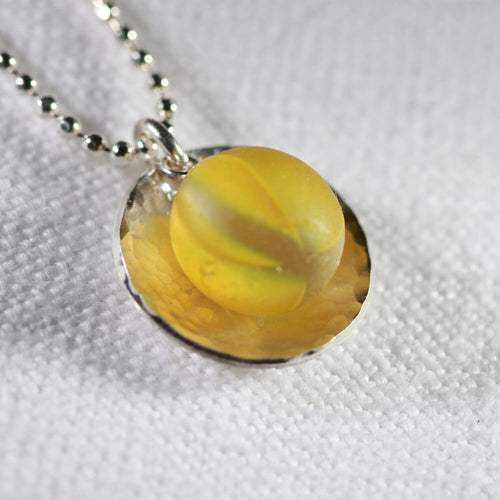 Sunshine yellow Cat's Eye Peewee Marble One of a Kind Necklace in Sterling Silver