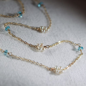 Blue topaz and Freshwater Pearl Link Necklace in 14kt Gold Filled