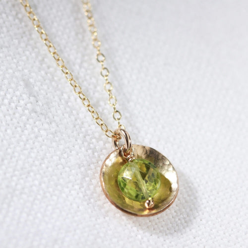 Peridot gemstone Necklace with Hammered disc in 14kt gold filled