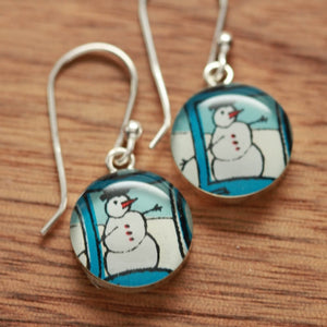 Snowman winter earrings made from recycled Starbucks gift cards, sterling silver and resin