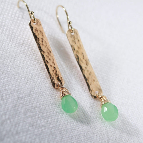 Chrysoprase gemstone and Hammered Bar Earrings in 14 kt Gold Filled