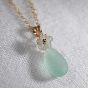 Aqua ocean blue Sea Glass necklace in 14kt GF with a carved MOP flower